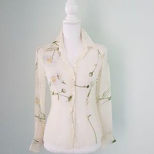 Dolce & Gabbana silk sheer flower print blouse